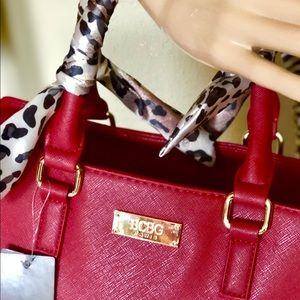BCBG RED BAG with animal skin Print handle LARGE